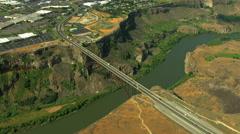 Aerials Idaho USA Twin Falls Perrine Bridge River Canyon Stock Footage