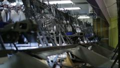 Pinsetter Machines Behind a Bowling Alley Stock Footage
