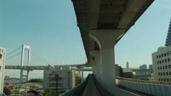 POV  Tokyo Citytram. Japan. Monorail. Elevated trainride. Yurikamome. Fast Stock Footage