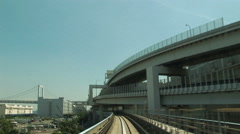 POV  Tokyo Citytram. Japan. Monorail. Elevated trainride. Yurikamome Stock Footage