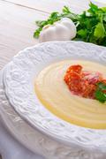 potato cream soup with chorizo and garlic - stock photo