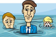 Head above water saying cartoon Stock Illustration