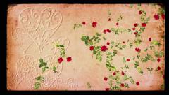 Falling red roses vintage background loop, for Valentines Day, weddings, romance Stock Footage