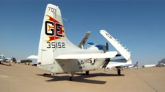AD-1 Skyraider Warbird at Fort Worth Alliance Airshow Slider Left to Right Stock Footage