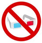 Prohibition of use of 3d eyeglasses - stock photo