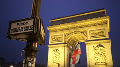 Charles de Gaulle Place and Triumphs arch called Arc de Triomphe - stock footage