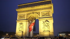 Triumphs arch called Arc de Triomphe nice evening shot - stock footage