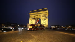 Wide angle shot of Triumphs arch called Arc de Triomphe - stock footage