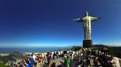 4K+HD Christ the Redeemer on top of Corcovado mountain Rio de Janeiro Brazil Stock Footage