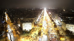 Paris city lights aerial shot by night - stock footage