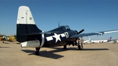 FM-2 Wildcat Warbird on Ramp Slider Left to Right - stock footage