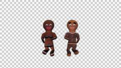 Stock Video Footage of Gingerbread Dancers - Choco Pair - 2 - Loop - Alpha