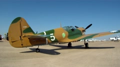 P-40 Warhawk on Ramp at Airshow Slider Right to Left Stock Footage