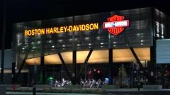 Harley Davidson motorcycle showroom Stock Footage