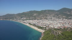 Alanya city with beach and shoreline Stock Footage