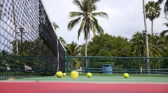 Tennis Club and Tennis Court with Balls in Tropics Stock Footage