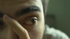 Anxious Depressed Eye Closeup HD.mp4 Stock Footage