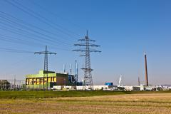 buildings of an industry park in beautiful landscape - stock photo