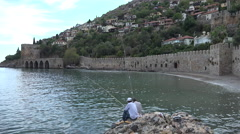 Two fishermen in Alanya - stock footage