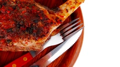 Savory plate on wood : grilled shoulder Stock Footage