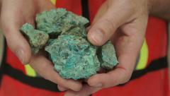 Miner Shows Copper Carbonate Ore Stock Footage