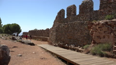 Restored section of Alanya castle wall - stock footage