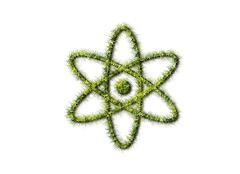Atom sign from grass isolated on white background Stock Illustration