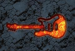 guitar lava stone - stock illustration