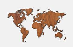 World map carving on wood board Stock Illustration