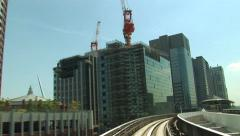POV  Tokyo Citytram. Japan. Monorail. Elevated trainride. Yurikamome - stock footage