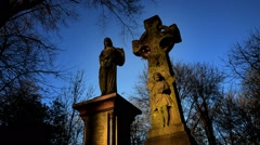 Graveyard. Cemetery. Time-lapse Stock Footage