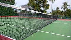A Service Fault, Yellow Tennis Ball Hitting the Net Stock Footage
