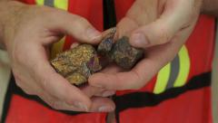 Miner Shows Copper Sulfide Ore Stock Footage