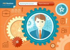 male bank director profession concept - stock illustration