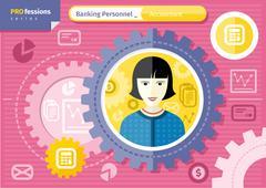 female accountant profession concept - stock illustration