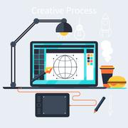 Creative process of designer concept Stock Illustration