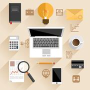 Businessman work desk flat concept Stock Illustration