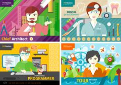 travel agent, architect, dentist and programmer - stock illustration