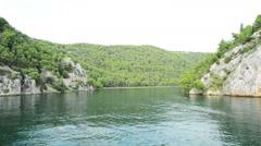 Krka, Croatia - On a boat at the river  Krka Stock Footage