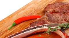 Savory : grilled spare rib on wooden plate with cutlery Stock Footage