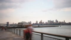 Night view on manhattan part of queensboro bridge 4k time lapse from new york Stock Footage