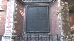 Plaque commemorating John Robinson in Leiden, South Holland, Netherlands. Stock Footage