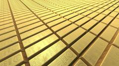 Endless stacks of gold bars Bricks, camera panning closely - stock footage