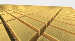 Endless stacks of gold bars Bricks, camera smooth panning closeup - stock footage