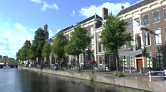 Typical river side view in Leiden, South Holland, Netherlands. Stock Footage