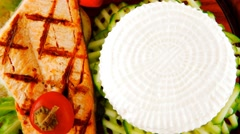 Grilled salmon and greek cheese Stock Footage