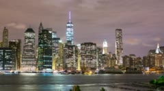 Night light fredom tower view 4k time lapse from new york Stock Footage