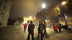 Typical Paris street view by night Stock Footage