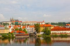 czech republic, prague, view on gradchana and the vltava river - stock photo