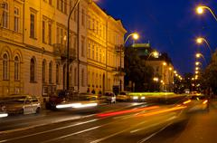 transport on vltava embankment at night ,  prague, czech republic - stock photo